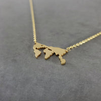 World Map Gold Necklace