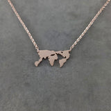 World Map Rose Gold Necklace