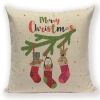Xmas Stockings on Branch Pillow Cover X1