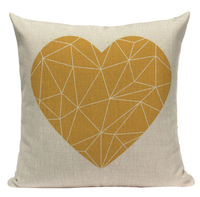 Yellow Heart Pattern Pillow YG11