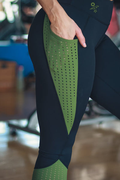 Sun, Bolt, Star - OD Green & Black Leggings