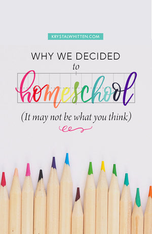 Why We're Homeschooling (It may not be what you think)
