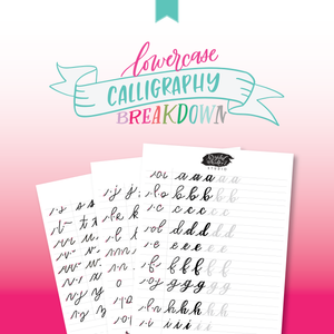 Lower Case Calligraphy Worksheets