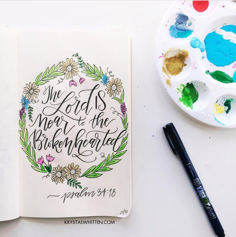Hand lettering and watercolor drawing