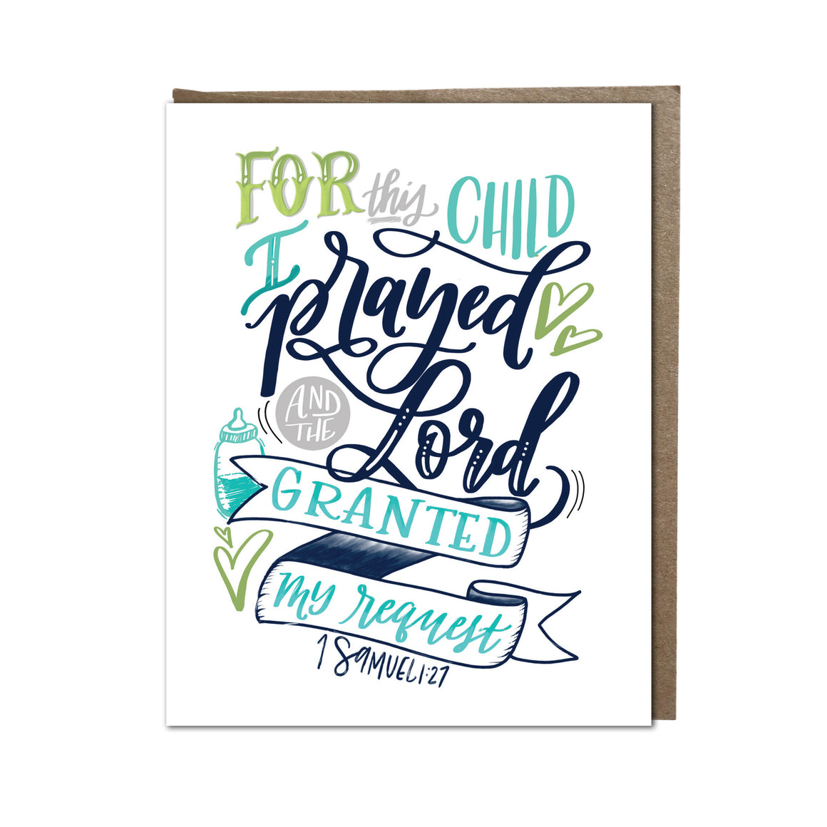 """For This Child I Prayed"" (blue) card"