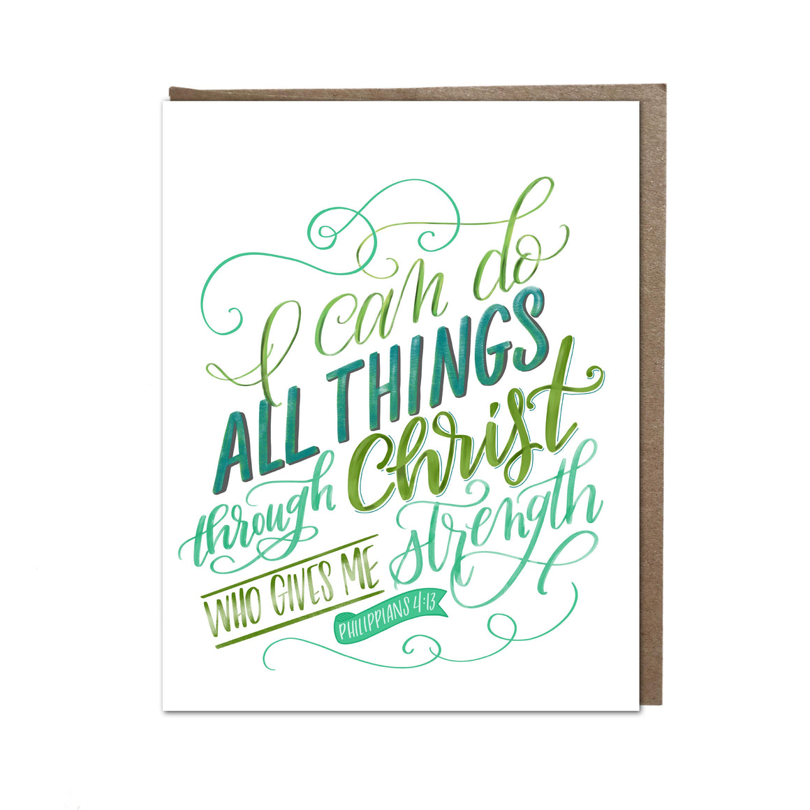"""I can do all things through Christ"" card"
