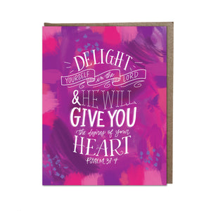 """Delight in the Lord"" card"