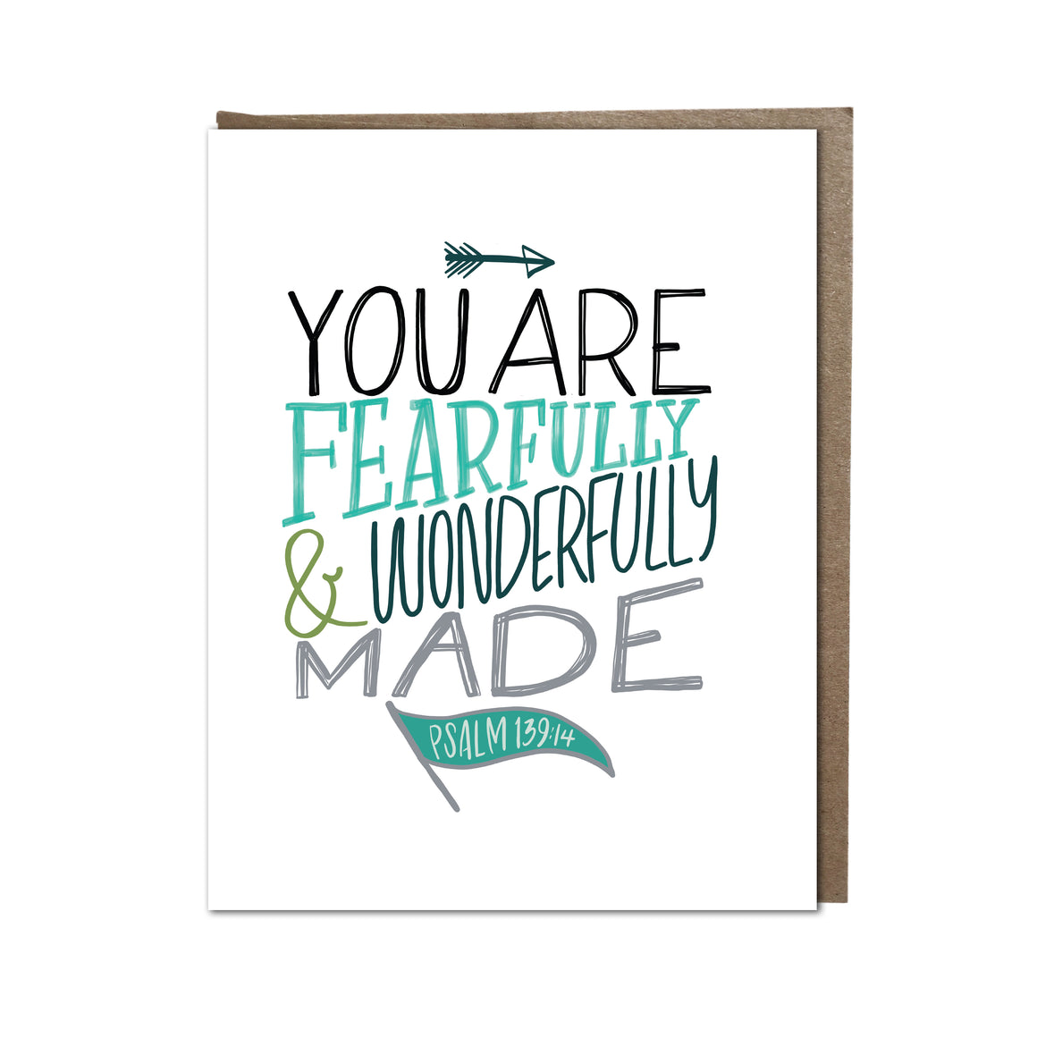 """Fearfully and Wonderfully Made -Aqua"" card"