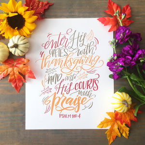 """Gates with Thanksgiving"" scripture art print - Color"