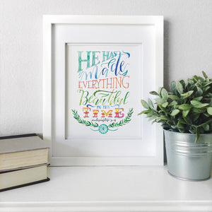 """Beautiful in its Time"" scripture art print"