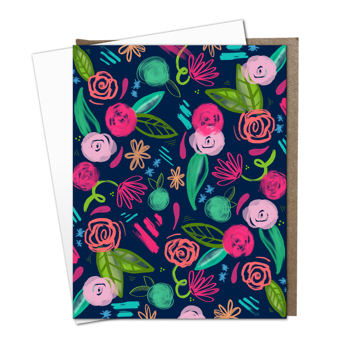 Midnight Floral Flat Notes