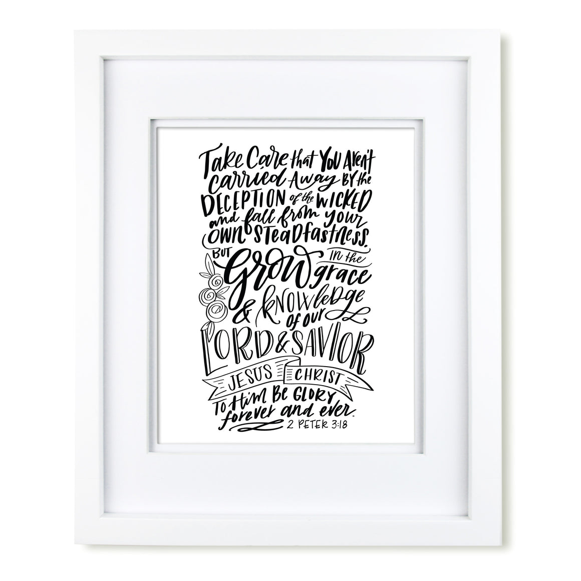 """Grow in Grace"" scripture art print"