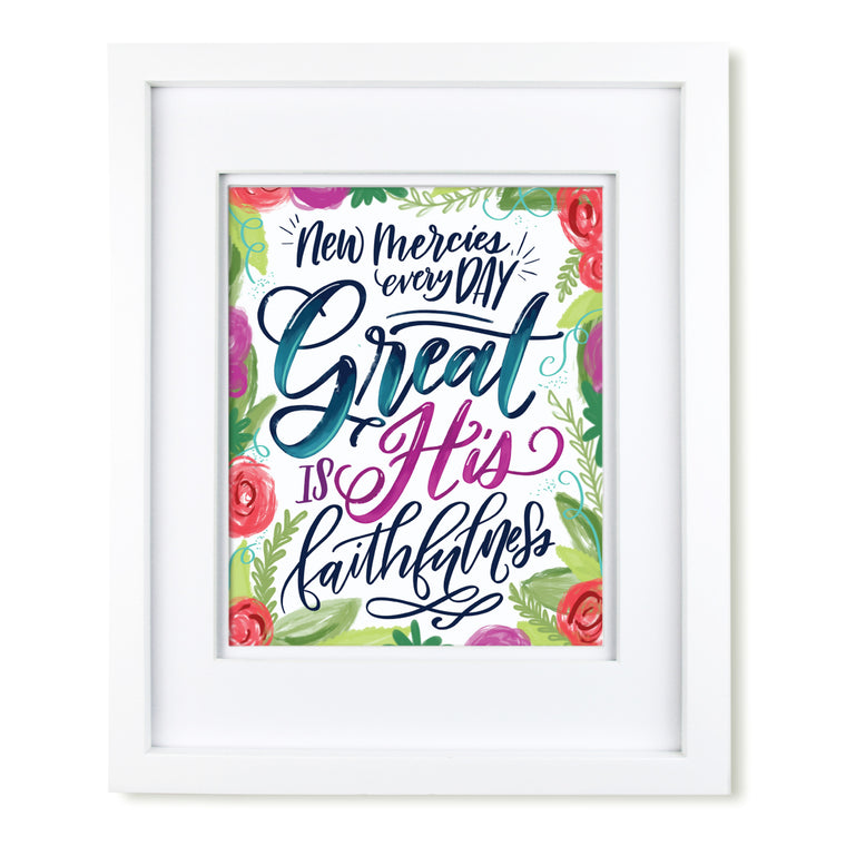 """Great is His Faithfulness"" scripture art print"
