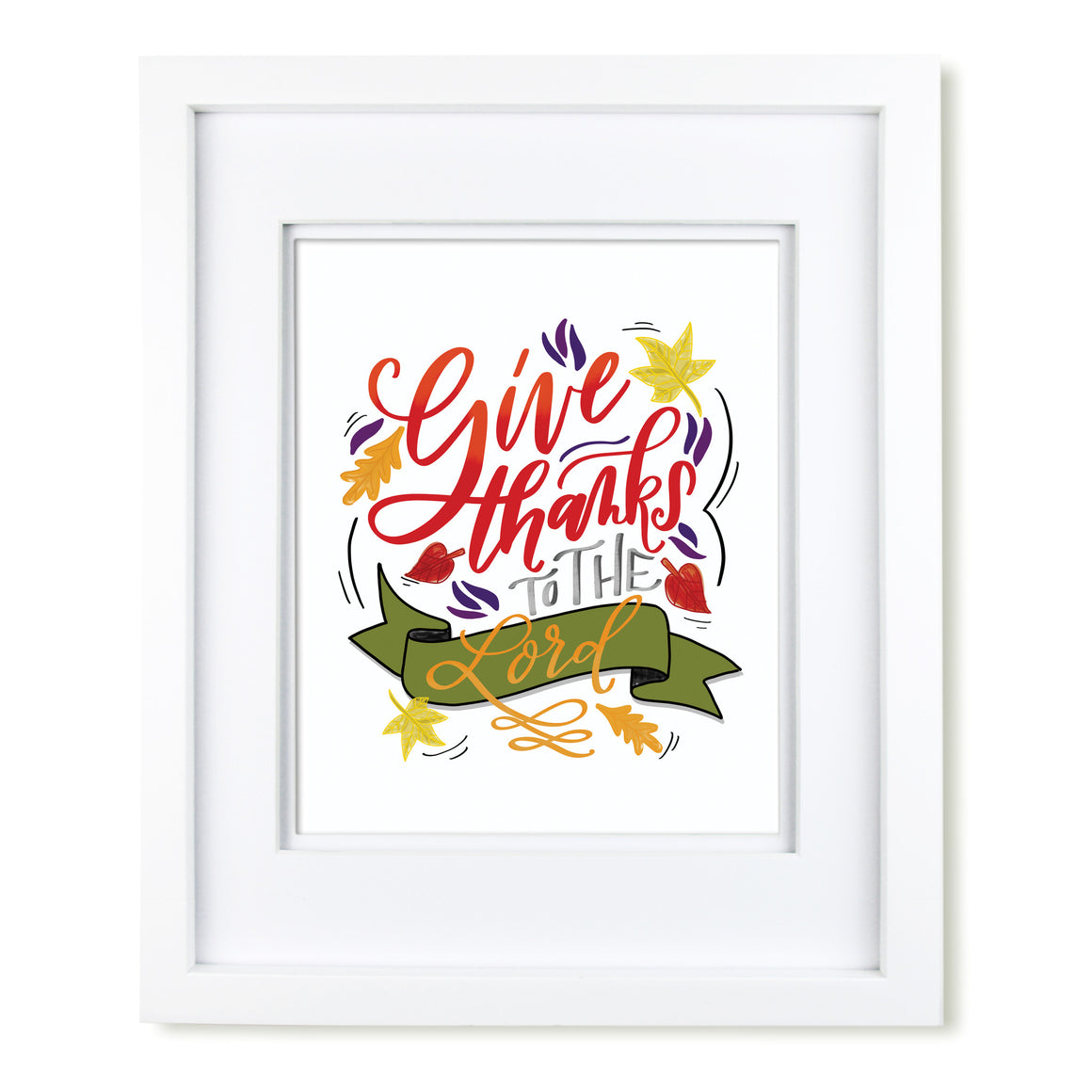 """Give Thanks"" scripture art print"