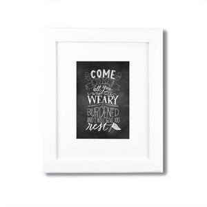 """Come to Me...and Rest"" scripture art print"