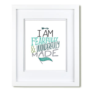 """Fearfully and Wonderfully Made"" scripture art print - Teal"