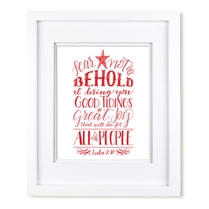 """Fear Not, Behold"" scripture art print"