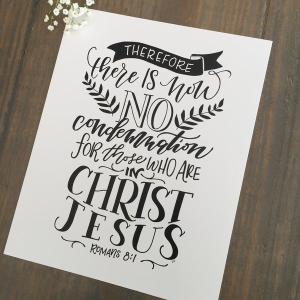u0026quot there is no condemnation u0026quot  scripture art print