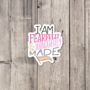 """Wonderfully Made"" (Pink) sticker"