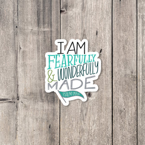 """Wonderfully Made"" (Teal) sticker"