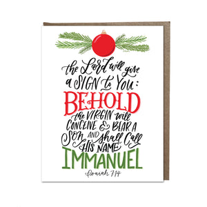 """He Shall Be Called Immanuel"" card"
