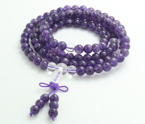 Gem Quality Natural Amethyst Mala Beads