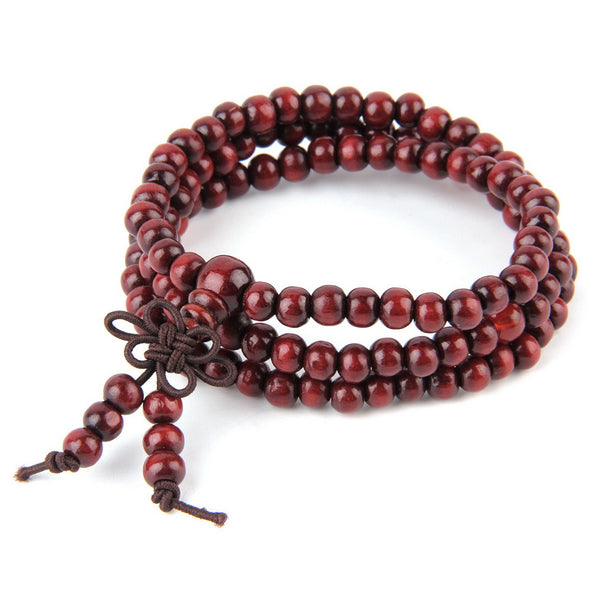 Natural Wood Meditation Mala - 108 6mm Beads - Red