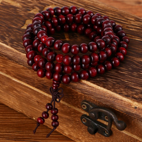 Natural Wood Meditation Mala - 108 8mm Beads - Red