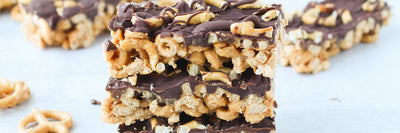 Chocolate Covered Pretzel Cereal Bars