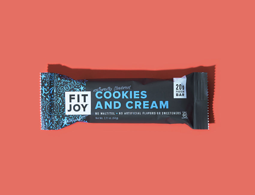 new FitJoy Cookies and Cream protein bar rebrand