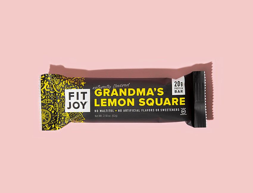 new FitJoy rebrand Grandma's Lemon Square protein bar