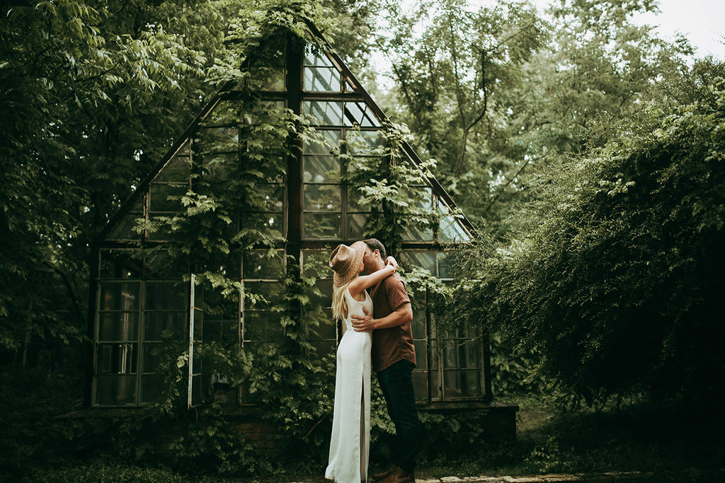 bridal shot of man and woman kissing
