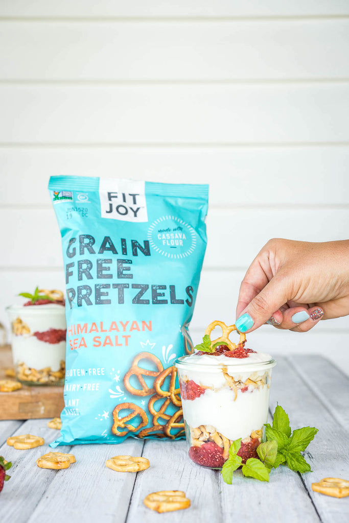 grain-free pretzels next to parfait