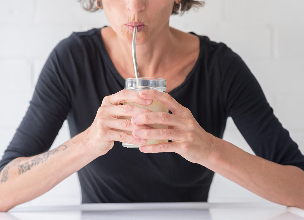 mature woman drinking milk