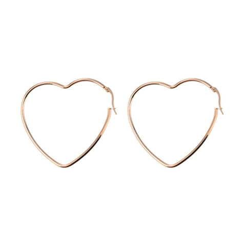 'Simple Hearts' Rose Gold Dipped Large Heart Hoop Earrings Dual Layer Necklace Love Heart Key Jewellery for Women Girls Gift Boxed ('Simple Hearts' Hoop Earrings)