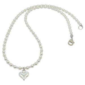 BellaMira Crystal Pearl Necklace Bracelet Earrings Made With Swarovski Elements - 925 Sterling Silver Fine Jewellery Gift Boxed (Crystal Cream Pearl Heart Necklace)