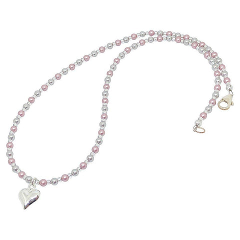 BellaMira Crystal Pearl Necklace Bracelet Earrings Made With Swarovski Elements - 925 Sterling Silver Fine Jewellery Gift Boxed (Crystal Powder Rose & Light Grey Pearl Heart Necklace)