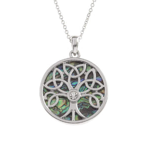 BellaMira Abalone Tree of Life Celtic Necklace