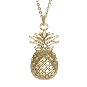 'Tropical Paradise' Striking Pineapple Necklace or Earrings (as chosen) Inlaid with Natural Abalone Paua Shell or AAA CZ Rhodium Plated Jewellery Gift Boxed (Gold Pineapple Necklace)