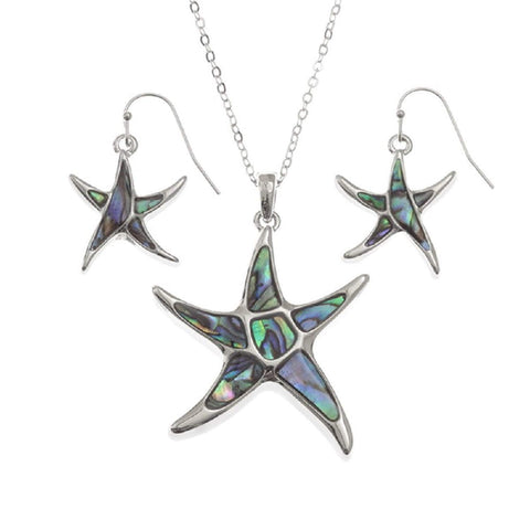 BellaMira Abalone Starfish Necklace & Earrings Gift Boxed