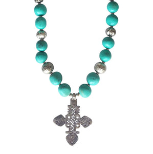 'Express yourself' Turquoise Cross Statement Necklace