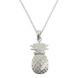 'Tropical Paradise' Striking Pineapple Necklace or Earrings (as chosen) Inlaid with Natural Abalone Paua Shell or AAA CZ Rhodium Plated Jewellery Gift Boxed (Silver Pineapple Necklace)