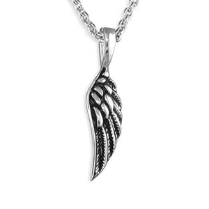 'A Little Guardian Angel' Oxidised 925 Sterling Silver Angel Wings Necklace