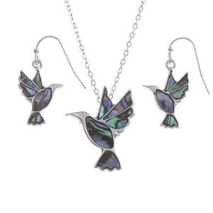Abalone Shell Hummingbird Necklace & Earrings