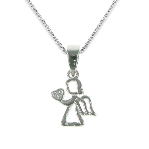 'A Little Guardian Angel' Sterling Silver Crystal Necklace