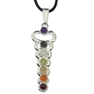 Kundalini Chakra Natural Stone Silver Necklace