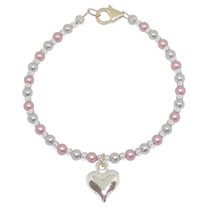 BellaMira Crystal Pearl Necklace Bracelet Earrings Made With Swarovski Elements - 925 Sterling Silver Fine Jewellery Gift Boxed (Crystal Powder Rose Pearl Heart Bracelet)
