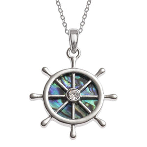 'Captain of My Heart' Abalone Ship's Steering Wheel Necklace