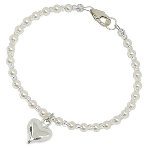 BellaMira Crystal Pearl Necklace Bracelet Earrings Made With Swarovski Elements - 925 Sterling Silver Fine Jewellery Gift Boxed (Crystal Cream Pearl Heart Bracelet)