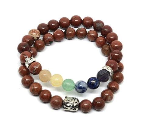 'Healing & Compassion' Genuine Red Jasper Buddha Bracelet Gemstones Ethically Sourced ~ Charka Healing Yoga Meditation Jewellery ~ Gift Boxed … (Buddha & Chakra Pair)